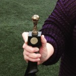 Southend walking charity football match trophy